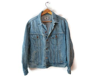 Vintage Lee Jacket Jean Denim Button Light Blue Men's XL