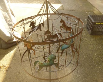 Spinning Carousel   Folk Art Wrought Iron 2 Piece Form   Rare And Unusual  Handmade :