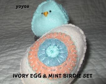 EGG and BIRDIE, Ivory Egg, Mint Bird, Easter,  Holiday Decor,  Spring Decor,  Home Decor,  Tucks,  Hostess Gift, Table Decor, Gift Baskets