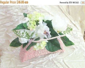 Summer Sale Sparkly Pink Purse Basket Silk Flower Arrangement, Bouquet, Flower Girl, Junior Bridesmaid