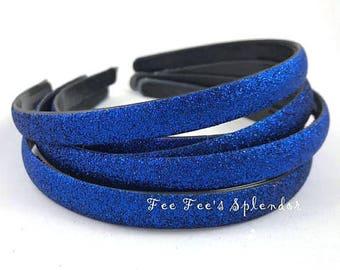 Glitter headband - Blue headband - Thick DIY headband - Hard Headband - DIY Headband supplies