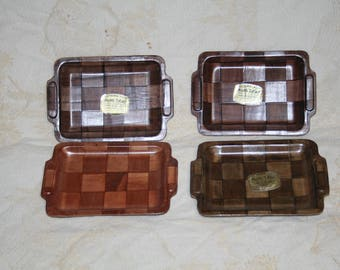 "Vintage Lot of Four ""Made in Taiwan"" MINI-TRAY for Hors D'oeuvres!  Tsubaki-Wood!  Westwood of San Francisco!  Measures 4 1/2"" x 6 1/2"""