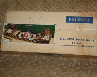 Vintage 1960s HELLERWARE 5390 Swing-Away Server!  Entertain for the Holidays in Mid-Century Style!  Walnut Finish!  Comes in Original Box!