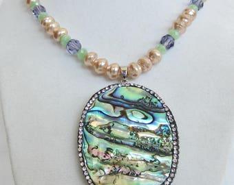 Abalone, Pearl & Swarovski Crystal Necklace, Ocean, Beach