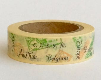 """CLEARANCE Washi Tape """"European Postage Cancellations"""" in Light Yellow 15mm x 10 meters"""