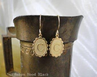 Letter C Earrings Simple Bright Brass Oval Dangles