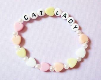 Cat Lady Pastel Bracelet, Kawaii Pastel Grunge 90s Cat Lady Word Bracelet