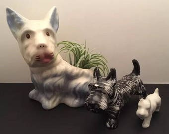 Set of 3 Vintage Ceramic Scottish Terrier Scottie Dog Figurines Planter
