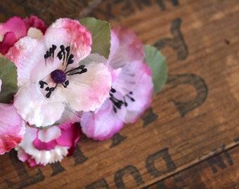 "Pink Floral Hair Clip, Azaleas Fascinator, Flower Hair Accessory for Women, Vintage Headpiece, 1950s Headband - ""Sugared Spring"""