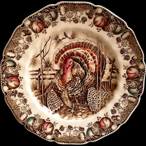 "Johnson Brothers Turkey  Dinner Plate, ""His Majesty"", Transferware, Holiday, Serving, Thanksgiving, 10 5/8"", See Details Below"