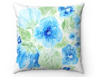 Blue Floral Pillow Cover, blue white pillow, blue floral pillow, floral throw pillow, flower throw pillow, blue throw pillow