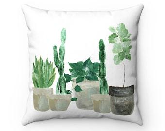 Plant Throw Pillow, green throw pillow, cactus throw pillow, leaf throw pillow, fiddle leaf fig, white throw pillow, indoor plant pillow