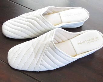 White Jacques Levine Women's Leather Wedge House Slippers Size 8