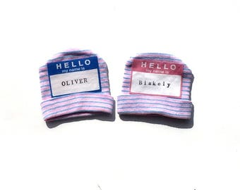 Hello My Name Is. Hat. New Born. Pink. Blue. Boy. Girl. Hospital Gift. Baby Shower.