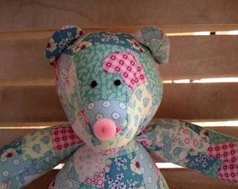 Small Teddy Bear - Turquoise patchwork fabric with a Pink Pom Pom Nose
