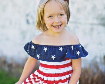 Fourth of July Patriotic Red White Blue Stars Cold Shoulder Off the Shoulder Dress Toddler Girl