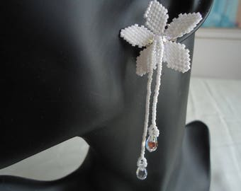 Earrings dangle white crystal flower