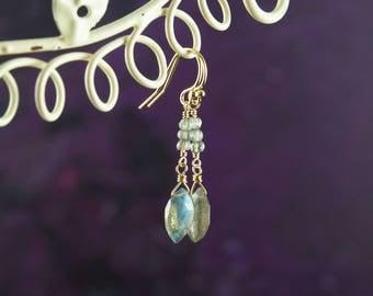 Labradorite and Gold Drop Earrings, Dainty Delicate Gemstone Earrings, Flashy Labradorite Dangle Earrings