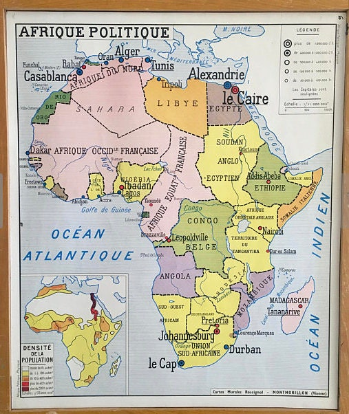 French vintage school world map educational africa 1950 classroom french vintage school world map educational africa 1950 classroom french school poster paris gumiabroncs Image collections
