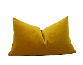 mustard velvet pillow cover // dark yellow velvet pillow // rectangle velvet pillow // mustard velvet cushion