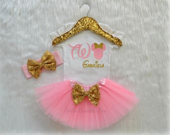 Baby Girl Disney Minnie Mouse, Pink and Gold with Custom Name, Second Birthday Tutu Headband Set, Short and Long Sleeve Bodysuit Tshirt 341