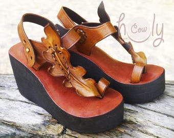 Handmade Brown Leather Platform Sandals, Brown Leather Sandals, Womens Sandals, Womens Shoes, Hippie Sandals, Cowgirl Sandals, Mens Sandals