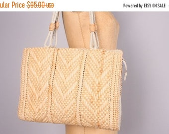 40% SALE 1960's Rattan Purse // Made in Italy Woven Straw Tote Bag // Summer Bag chevron pattern