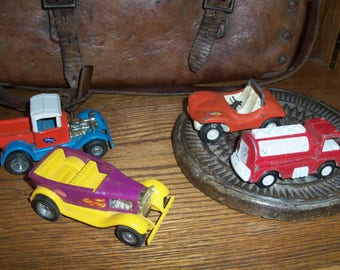 Set of 4 Vintage Toy Cars Trucks Kids