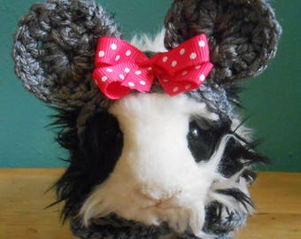 Guinea pig or Ferret Mouse Ears Hat, Gray Mouse Ears Hat,  Guinea Pig Clothes, Halloween Costume for Guinea pig, Tiny Pet Hat