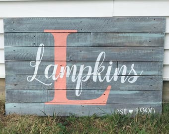 CUSTOM NAME Rustic Reclaimed Wood Distressed Farmhouse Sign