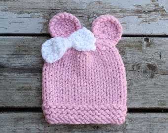 Infant Knit Hat with bow, Knit Hat with ears, Infant Knit Toque, Infant Knit Hat, Infant Knit toque, Handmade Knit Hat, Handmade Baby Hat,