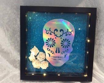 Sugar Skull With Harlequin Vinyl and Lights Photo frame