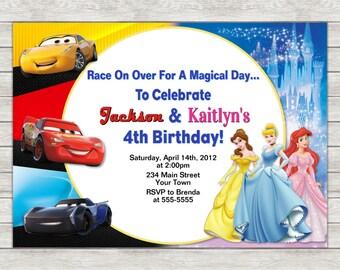 Disney Cars & Princess Birthday Invitation, Joint Twin Invite - Printable File or Printed Invitations