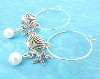 Shell Hoop Earrings, Starfish Earrings, Pearl Earrings, Beach Jewelry, Dangle Earrings, Loop Earrings, Starfish Hoop Earrings, Drop Earring