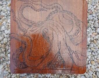 Upcycled cigar box Octopus wood burning
