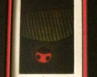 "Art - Original Mezzotint/Lithograph, by Yozo Hamaguchi ""Ladybird & Leaf"" Signed and Numbered 118/150, Framed"