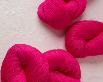Hot pink Linen Thread, Weaving thread,  Pink Thread for weaving, Pure Linen, needlepoint, sewing, knitting - Set of 4 skeins