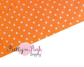 Orange/White Polka Dot Fabric- Fabric by the yard- Easter- Polka Dot-Sewing Supplies