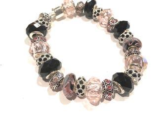 Pink and Black Murano Glass Beads w Black and Pink Rhinestones Euro Bracelet