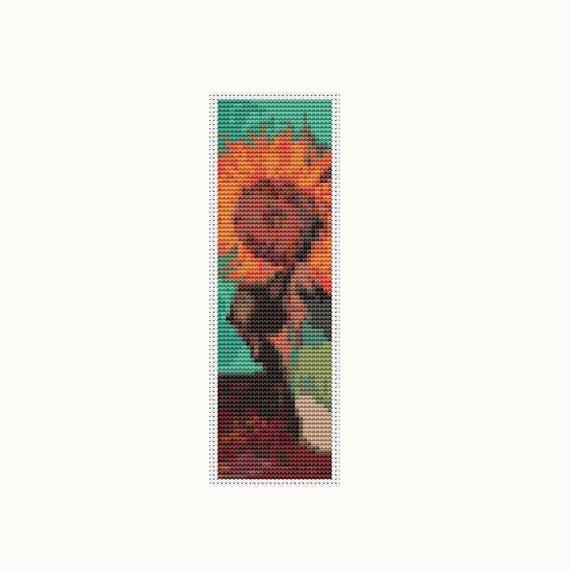 Vase With Three Sunflowers Bookmark Cross Stitch Kit