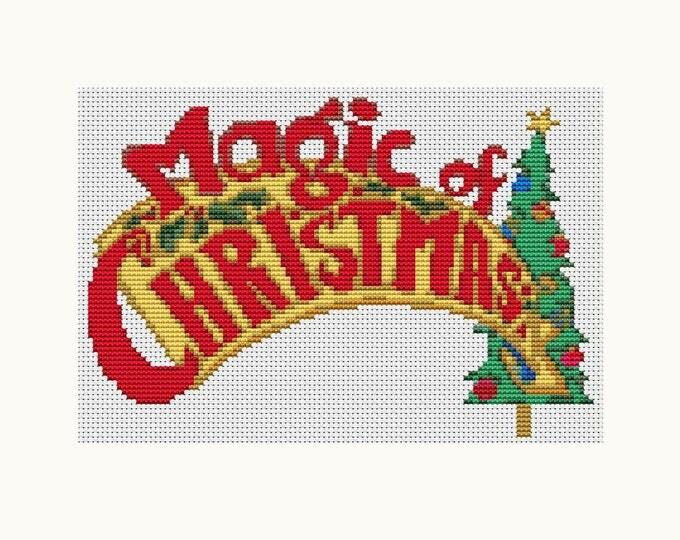 Mini Cross Stitch Pattern PDF, Embroidery Chart, Art Cross Stitch, Holiday Cross Stitch, Christmas Series: Magic of Christmas (TAS052)