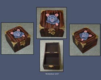 Russian Blue / Grey Rat Wooden Box - Suitable for Trinkets, Jewellery or as a Memorial Box