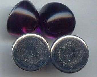 12 Vintage Amethyst Acrylic 15mm. Round High Dome Cabochons 7166