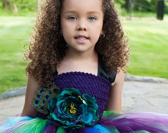 The Peacock - Peacock Inspired Tutu Dress with Flower and  Feather accents