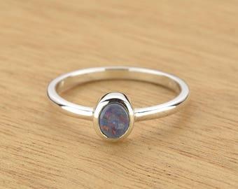 0.4ct Semi-Black Opal Ring in 925 Sterling Silver Size 8 SKU: 1979S056