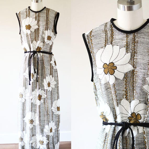 1970s sparkle maxi dress // vintage sparkle floral dress // vintage maxi skirt