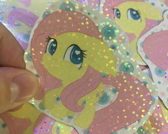 Fluttershy Mane 6 MLP My Little Pony inspired 3in holographic sticker