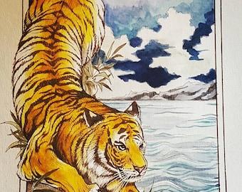 "Tiger On the Hunt 9×13"" prints"