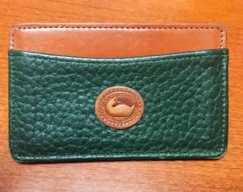 Vintage Dooney and Bourke Green Fir ID Credit Card Business Card Case