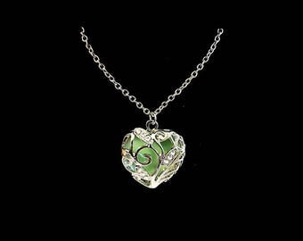 Green Heart Glow in the Dark Pendant Necklace